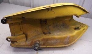 bottom of vintage motorcycle gas tank